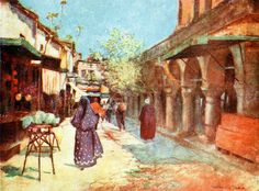 """'Street Scene, Stamboul' from """"Constantinople painted by Warwick Goble"""" (1906)"""