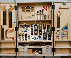 The hanging hand tool cabinet was built from a set of Fine Woodworking Magazine … – wood working Garage Workshop Organization, Diy Garage Storage, Tool Storage, Woodworking Tool Cabinet, Fine Woodworking, Woodworking Ideas, Veneer Panels, Cabinet Plans, Woodworking Magazine