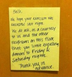 Colorful noisy neighbor note bigfoot funnysigns passiveaggresive noisy neighbours altavistaventures Image collections