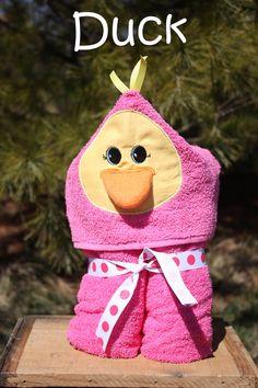 Hooded Duck Towel by PovertyBarn on Etsy, $17.00.... Soooo cute_!!