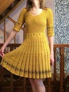 Stylish Winter Outfits, Cute Fall Outfits, Lace Knitting, Crochet Lace, Knit Skirt, Knit Dress, Kids Knitting Patterns, Crochet Fashion, Crochet Clothes