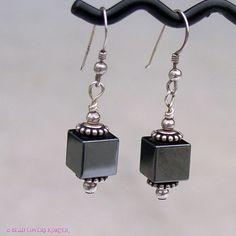 Hematitie Cube Dangle Earrings by beadloverskorner on Etsy