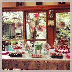 Ella's first birthday #chevron #rufflecake #cupcakes