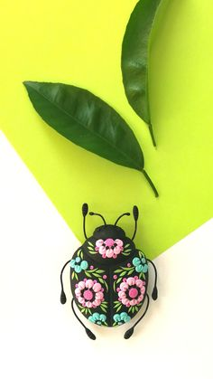 #Beetle #brooch, Colorful #insect #jewelry, #Flower #bug brooch, Unique #clay #miniature, Trendy gift her, Scarab jewelry, Botanical, #Folk accessory