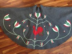 """Vintage 1950s Crazy Beaded Rooster Felt Circle Skirt Waist 26"""" by Cis Michler"""
