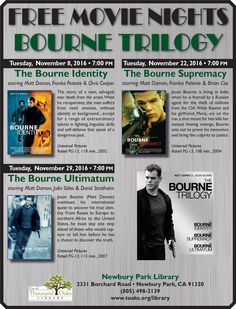 """FREE MOVIE NIGHTS for November 2016 at the Newbury Park Library will feature the BOURNE TRILOGY:  """"The Bourne Identity on Tuesday, November 8th, """"The Bourne Supremacy"""" on Tuesday, November 22nd, and """"The Bourne Ultimatum"""" on Tuesday, November 29th.  Newbury Park Library, 2331 Borchard Road, Newbury Park, CA 91320."""