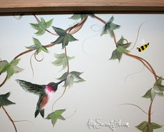 Easily extend a framed painting with handpainted elements - Atop Serenity Hill Garden Items, Wonderful Picture, Painting Frames, Wall Murals, Serenity, Folk Art, Vines, Original Paintings, Mural Ideas