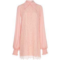 Georgette Lace Dress | Moda Operandi (25.618.955 IDR) ❤ liked on Polyvore featuring dresses, lace collar dress, georgette dress, collared dresses, lacy dress and pink dress