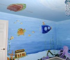 underwater nursery theme, boat on the ceiling is clever