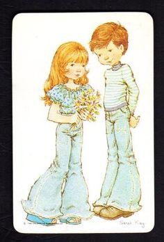 SARAH KAY Swap Card - Girl with Flowers & Boy (BLANK BACK)