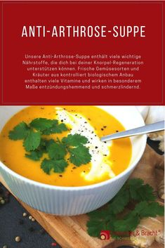 The anti-arthrosis soup from Liebscher & Die Anti-Arthrose-Suppe von Liebscher & Bracht Our anti-arthrosis soup contains many important nutrients that can help you with your cartilage regeneration. Here you can find the recipe for cooking. Smoothie Detox, Healthy Smoothies, Healthy Drinks, Smoothie Recipes, Soup Cleanse, Health Cleanse, Detox Soup, Detox Recipes, Soup Recipes