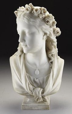 Eugene-Antoine Aizelin marble sculpture bust of a