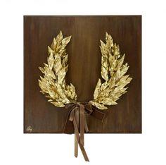 Εικαστικά Έργα | Ταξίδι Δημιουργίας Grapevine Wreath, Mixed Media Art, Grape Vines, Diy And Crafts, Woodworking, Clay, Wreaths, Crowns, Gold