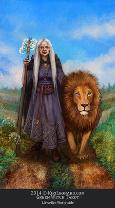 Illustration for the Strength / The Crone Tarot Card Llewellyn's Green Witch Tarot by author Ann Moura and illustrator Kiri Østergaard Leonard, 2014: KiriLeonard.com