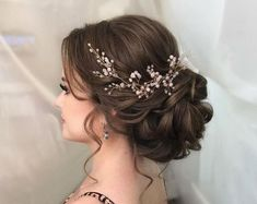 Wedding Hair Vine Extra Long Crystal and Pearl Hair Piece Flower Headpiece Brida. - Wedding Hair Vine Extra Long Crystal and Pearl Hair Piece Flower Headpiece Bridal Jewelry Crystal W - Quince Hairstyles, Bride Hairstyles, Hairstyle Ideas, Bangs Hairstyle, Formal Hairstyles, Bob Hairstyles, Bridesmaids Hairstyles, Hairstyle Short, Hair Updo
