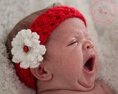 Baby Headband - Crochet Baby Headband - Crochet Headband - Red - Bling - Newborn to 3 months - READY TO SHIP