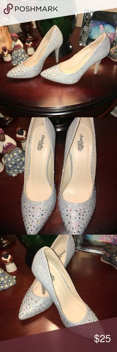CHARLOTTE RUSSE GLIMMER PUMPS CHARLOTTE RUSSE SILVER SHIMMER WITH RHINESTONES N 4 INCH HEELS WORN ONCE SIZE 8 Charlotte Russe Shoes Heels