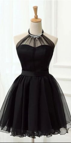 Laurafashionshop - Halter Black Tulle Beaded Short Cute Prom Dress Homecoming Dresses Party Hoco - Laurafashionshop – Elegant Halter Black Tulle Beaded Short Cute Prom Dress Homecoming Dresses Party Hoco Gowns Source by - Prom Dress Black, Lace Homecoming Dresses, Hoco Dresses, Dresses For Work, Formal Dresses, Sexy Dresses, Summer Dresses, Wedding Dresses, Casual Dresses
