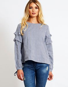 LUCIA – Gingham Frill Sleeve Smock Navy Top