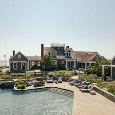 Inside Kourtney Kardashian's Dreamy Nantucket Mansion - Deck / Patio / Porch by the Pool / Yard - House Exterior