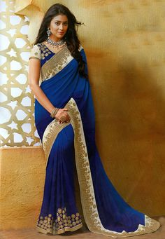 Georgette #Saree in #Blue