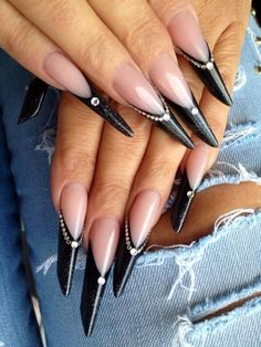 Edge nails | stiletto nails | nail art designs | unas