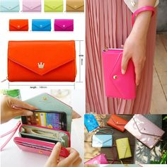 New Multi Propose Envelope Wallet Case Purse for Galaxy S2/S3 iPhone 4 4G 4S