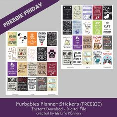 """This Freebie Friday features Fur-babies. Pets are more than just animals, they are family and fur children. There is a set for cat people and one for the dog people. These stickers will fit most planners but are thestandard size of EC at 1.5"""" x 1.9"""" and HP at 1.5"""" x 2.25"""". To download theRead More"""