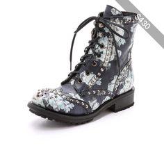 Ash Rare Floral Combat Boots - Black/White