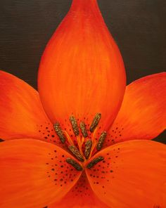 "16"" x 20"" Tiger Lily  Acrylic with ground stone texture. Available for purchase.  Contact me: dc@internalbloom.com"