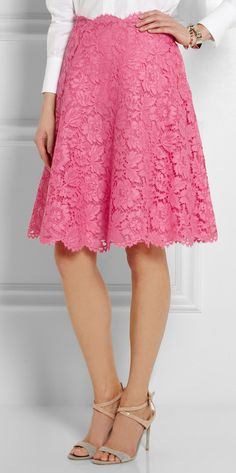Valentino Lace Skirt in Pink