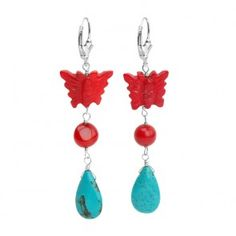 Sterling Silver Chalk Turquoise and Coral Earrings