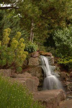 Waterfall at Ness Botanic Gardens by Antari Foster Backyard Water Feature, Ponds Backyard, Backyard Landscaping, Water Features In The Garden, Garden Features, Beautiful Waterfalls, Beautiful Landscapes, Amazing Gardens, Beautiful Gardens
