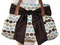 Madi Bag  Blue and Brown Chenille Dots by threesixtybags on Etsy, $79.00