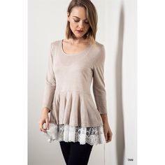 """""""Venetian Romance"""" Lace Hem Long Sleeve Top Lace hem long sleeve top. Available in ash, tan and coral. This listing is for the TAN. Brand new. True to size but a loose fit. NO TRADES. Bare Anthology Tops Tees - Long Sleeve"""