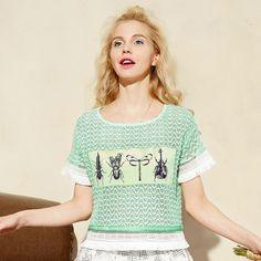 Elf Sack Women 2016 Tassels Lace Short Sleeve Elastic Front Appliques T-shirts| elfsack