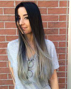 negro a gris largo cabello ombre recta