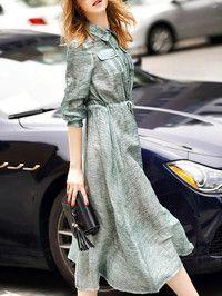 Paneled Silk Shirt dress