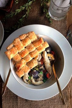 Chicken Pot Pie with Puff Pastry Crust {recipe}
