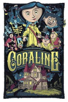 Coraline by Graham Erwin - Home of the Alternative Movie Poster -AMP- An advertisement film Cartoon Wallpaper, Retro Wallpaper, Dark Wallpaper, Foto Poster, Poster Wall, Poster Prints, Art Print, Vintage Cartoons, Posters Vintage