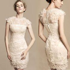 Knee Length Wedding Dresses with Sleeves | ... Cap Sleeve Knee Length Short Sheath Wedding Bridal Reception Dress