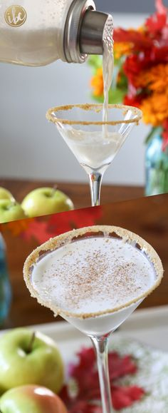 This creamy cocktail tastes just like a Caramel Apple Pie! The perfect fall cocktail. #caramel #martini #applepie #cocktail #recipe