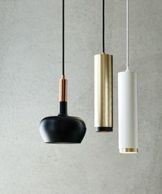 LEDlux Pearson Dimmable Pendant in White/Brass | Modern Pendants | Pendant Lights | Lighting