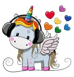 Illustration about Cute Cartoon Unicorn with headphones and hearts. Illustration of computer, child, fairytale - 90293649 Cartoon Unicorn, Unicorn Art, Cute Unicorn, Girl Cartoon, Cute Cartoon, Baby Unicorn, Cartoon Mignon, Baby Poster, Bebe Love
