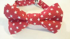 Fun Patriotic White Stars on Red Pretied Bow Tie For Children by HouseOfJdawn on Etsy