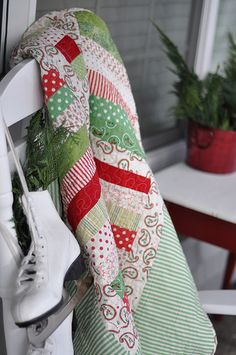 Christmas Quilt and Ice Skates