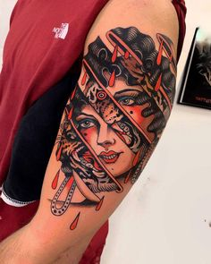 Traditional tattoo by Pablo Lillo - Tattoo artist Pablo Lillo, color traditional tattoo Tattoos Arm Mann, Full Arm Tattoos, Head Tattoos, Arm Tattoos For Guys, Body Art Tattoos, Girl Tattoos, Sleeve Tattoos, Nature Tattoos, Traditional Tattoo Old School