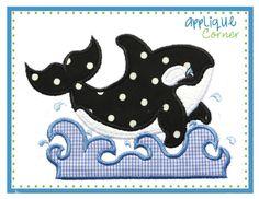 Whale Applique Design with Water Applique Design