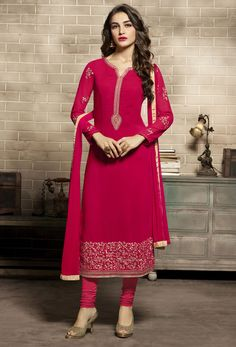 Shop semi-stitched maroon red georgette pakistani suit , freeshipping all over the world , Item code skclac30 Indian Salwar Suit, Churidar Suits, Pakistani Suits, Punjabi Suits, Red Kurta, Salwar Suits Party Wear, Salwar Kameez Online, Shalwar Kameez, Blouse Neck Designs