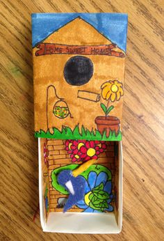 Lola's Birdhouse. Made from sleeve, inset and folded tray. #artprojectsforkids #matchboxart #birdhouse